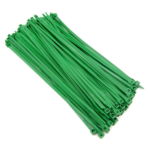 """Zip Cable Ties 8"""" 40lbs 100pc GREEN Made in USA Nylon Wire Tie Wraps"""