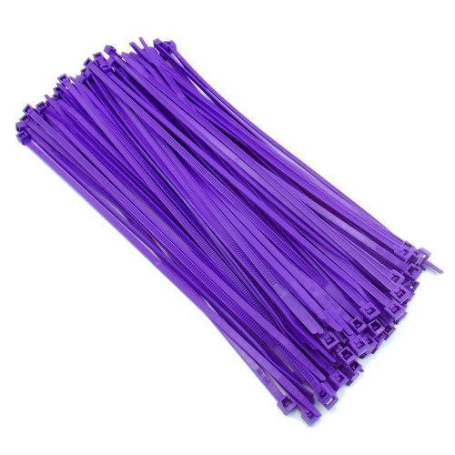 "Zip Cable Ties 8"" 40lbs 100pc PURPLE Made in USA Nylon Wire Tie Wraps"