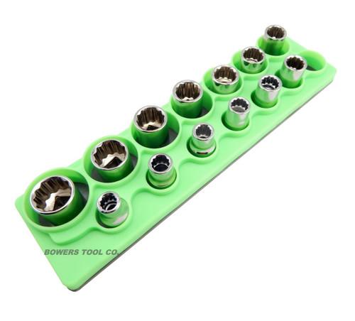 Mechanics Time Saver 1/2 Drive Magnetic Metric Shallow Socket Holder Organizer Green