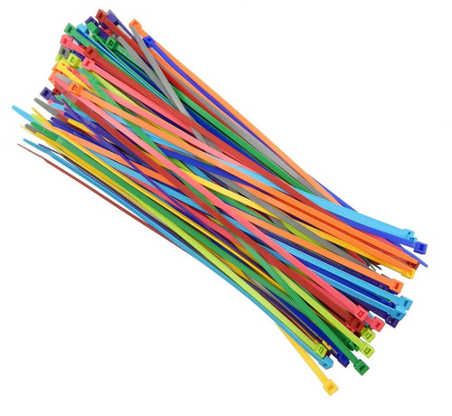 "Multi Color Zip Cable Ties 11"" 50lbs 100pc Made in USA Nylon Wire Tie Wraps"