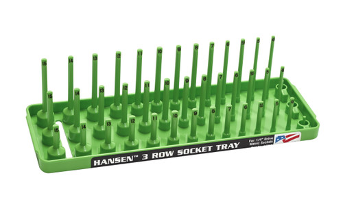 "Hansen (Green) 1/4"" Socket Tray Organizer Holder 3 Row Metric MM Shallow Semi Deep Green"