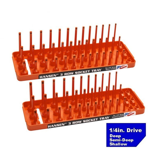 "Hansen (Orange) 1/4"" Socket Tray Organizer Holder Set 3 Row Metric SAE Shallow Deep Orange"