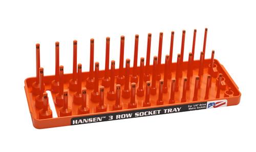 "Hansen (Orange) 1/4"" Socket Tray Organizer Holder 3 Row Metric MM Shallow Deep Orange"