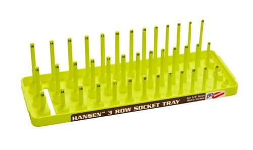 "Hansen (Yellow) 1/4"" Socket Tray Organizer Holder 3 Row Metric MM Shallow Deep Yellow"