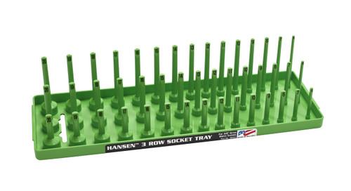"Hansen (Green) 3/8"" Socket Tray Organizer Holder Metric 3 Row MM Shallow Semi Deep Green"