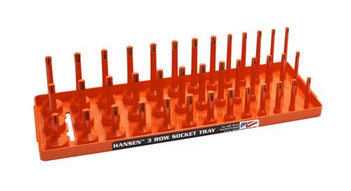 "Hansen (Orange) 3/8"" Socket Tray Organizer Holder 3 Row Standard SAE Shallow Deep Orange"