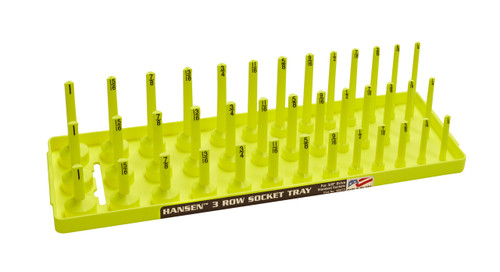"Hansen (Yellow) 3/8"" Socket Tray Organizer Holder 3 Row Standard SAE Shallow Deep Yellow"