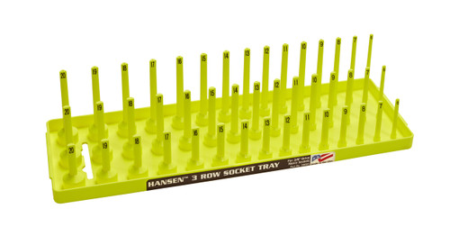 "Hansen (Yellow) 3/8"" Socket Tray Organizer Holder Metric 3 Row MM Shallow Deep Yellow"
