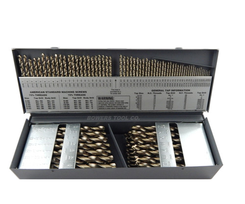 "Cle Line 115pc COBALT M42 Drill Bit Set Number Letter Jobber 1/16"" to 1/2"" USA"