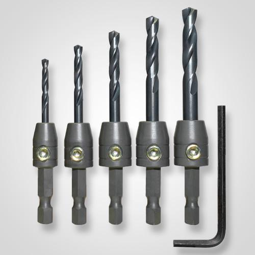 "Snappy IronMan 5pc Drill Bit Adapter Set 1/8-1/4"" Lock Set Screw USA Made 40022"