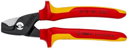 """Knipex 6-1/4"""" Cable Wire Cutter Shears Insulated VDE 19/32"""" Step Cut 9K9518160"""