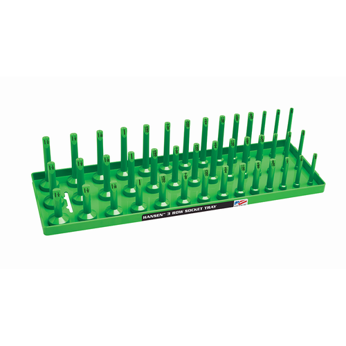 "Hansen 1/2"" Socket Tray Organizer Holder 3 Row Standard SAE Shallow Deep Green"