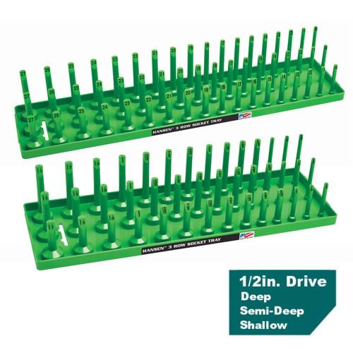 "Hansen 1/2"" Socket Tray Organizer Holder Set 3 Row Metric SAE Shallow Deep Green"