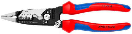 """Knipex 8"""" Forged Wire Stripper Pliers w Shears 10-20 AWG Comfort Grip 13728 Flat"""