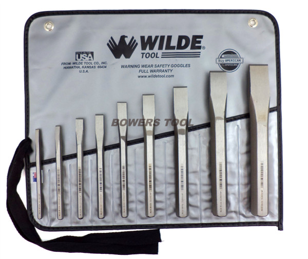 Wilde Tool 9pc Cold Chisel Set Made in USA in Vinyl Roll Case
