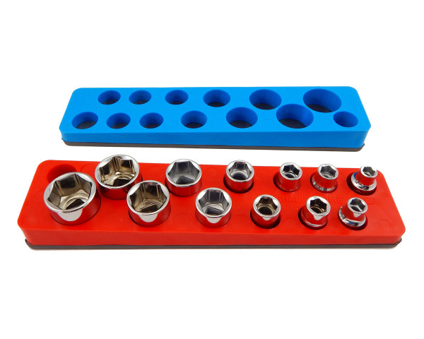 Mechanics Time Saver 714 3//8 in Drive Magnetic Red Socket Holder   5.5-22mm