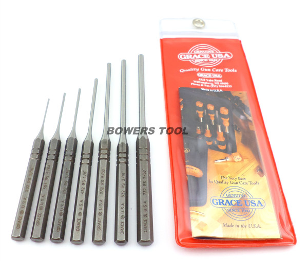 Grace 7pc Steel Roll Pin Punch Set with Pouch Made in USA