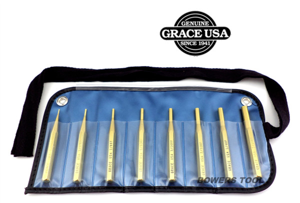 Grace 8pc Brass Roll Pin Punch Set in Vinyl Roll Made in USA