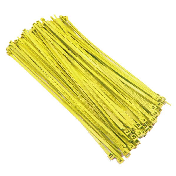 """Zip Cable Ties 8"""" 40lbs 100pc YELLOW Made in USA Nylon Wire Tie Wraps"""