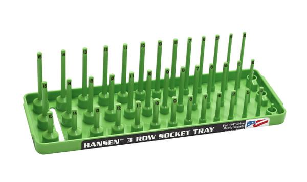 "Hansen (Green) 1/4"" Socket Tray Organizer Holder 3 Row Metric MM Shallow Semi Deep Green"