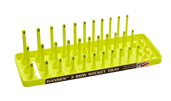 "Hansen (Yellow) 1/4"" Socket Tray Organizer Holder 3 Row Standard SAE Shallow Deep Yellow"