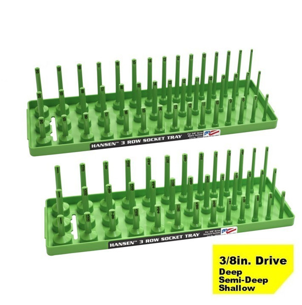 "Hansen (Green) 3/8"" Socket Tray Organizer Holder Set 3 Row Metric SAE Shallow Deep Green"