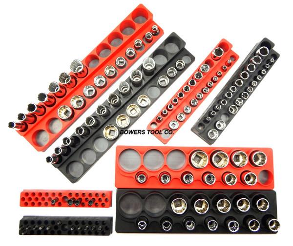 "Magnetic Socket Holder Set 8pc Mechanics Time Saver 1/2"" 3/8"" 1/4"" Drive MTSRBK"