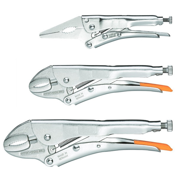 """Lang Locking Grip Vise Pliers Set 3pc Curved Jaw and Long Nose Jaw 6-1/2, 7, 10"""""""