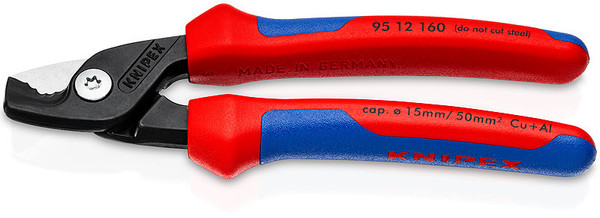 """Knipex 6-1/4"""" Cable Wire Cutter Shears Comfort Grips 19/32"""" Step Cut 9512160"""