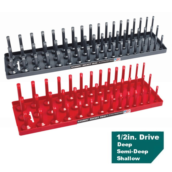 "Hansen 1/2"" Socket Tray Organizer Holder Set 3 Row Metric SAE Shallow, Deep USA"
