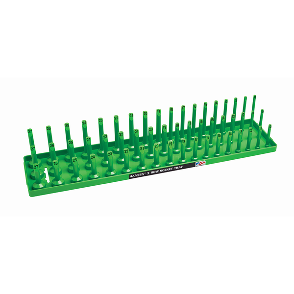"Hansen 1/2"" Socket Tray Organizer Holder Metric 3 Row MM Shallow Semi Deep Green"
