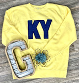 KY Letters Denim Fabric Embroidered Edge Sweatshirt Yellow