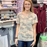 Dusty Pink Camo Knit Top