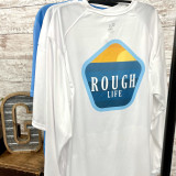 Rough Life Badge White Long Sleeve Swim Shirt