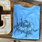 Rough Life Lake Map Columbia Blue  LS Swim Shirt