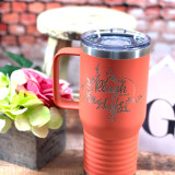 Rough Life Lake Map 20oz Coffee Cup Coral
