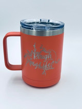 Rough Life Lake Map 15oz Coffee Cup Coral