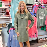 Simply Noelle Turtleneck Sweater Dress with Buttons Olive