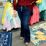 KanCan Mid Rise Button Up Flare Jean