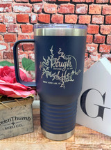 Rough Life Lake Map 20oz Coffee Cup Navy