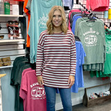 Simply Southern Striped Sweater Maroon