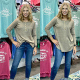 Simply Southern Henley Top Tan