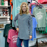 Simply Southern Striped Sweater Navy