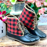 Simply Southern Boots Lace Red Plaid
