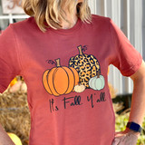 It's Fall Y'all Multiple pumpkins and Patterns Tshirt Bella Rust