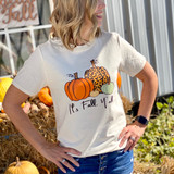 It's fall Y'all Multiple pumpkins and patterns Gildan Softstyle Tshirt Natural