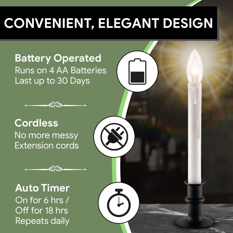Ultra-Bright LED Window Candles with Timer, Battery ...