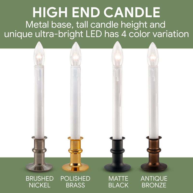 Christmas Window Candles.Ultra Bright Led Christmas Window Candles With Auto Timer Battery Operated Metal Base Pack Of 4
