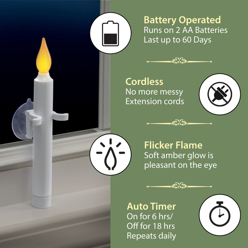 Battery Operated Suction Cup Led Window Candles 612 Vermont