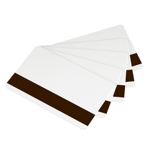 Zebra 104523-112 Zebra white PVC cards, 30 mil low coercivity magnetic stripe (500 cards)